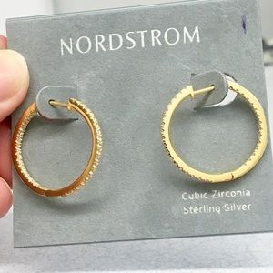 Elegant NWT Nordstrom gold plated 925 CZ hoops 🎉